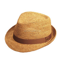Wholesale popular paper straw fedora hat paper crochet hat