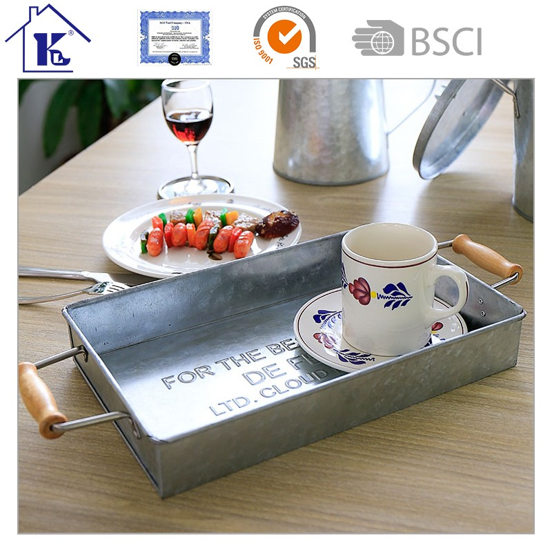 Hot Sale P609 Metal Galvanized Tray/Salver With Bamboo Handles