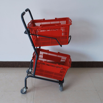 Grey coloured grocery shopping basket trolley with two baskets