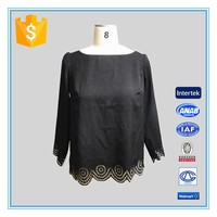 Ladies 3/4 Sleeve Cutwork Embroidery Blouse Designs Plus Size Women Clothing