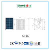 mini 20W photovoltaic module small solar panels with TUV/PID/CEC/CQC/IEC/CE