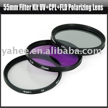 55mm Filter Kit UV+CPL+FLD Polarizing for Sony Lens,YHA-HG040