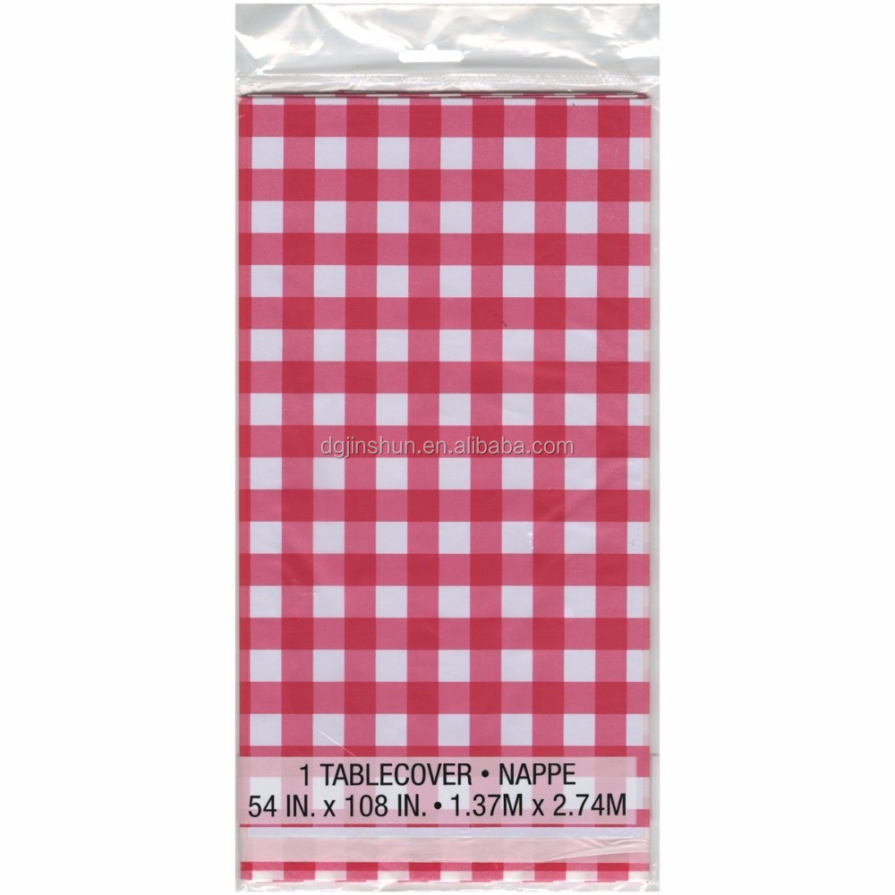 Plastic Red And White Checkered Tablecloths 6 Pc Picnic Dining Table Cover