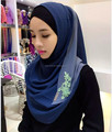 lace embroidery chiffon two tone Instant hijab Muslim long scarf wrap Slip On Shawl HW217
