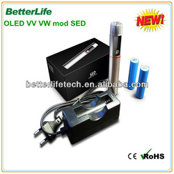 2014new arrival China supplier Betterlife e cigarettes battery variable voltage shenzhen supplier SED mod e cig battery