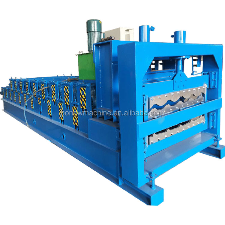 hot sale double layer glazed corrugated roof tile roll forming <strong>machine</strong>