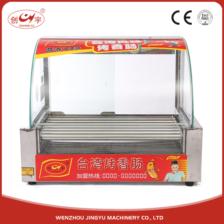 Chuangyu Alibaba Product 7 Roller Easy Operation Mobile Hot Dog Cart For HotDog Machine With Push Door