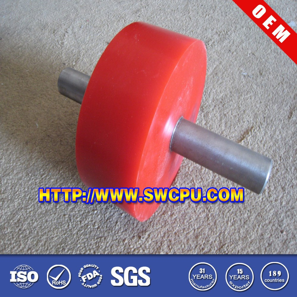Red PU and nylon track roller