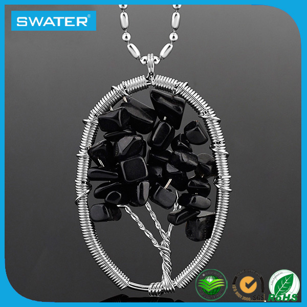 Black Natural Stones Bead Chain Necklaces Designs