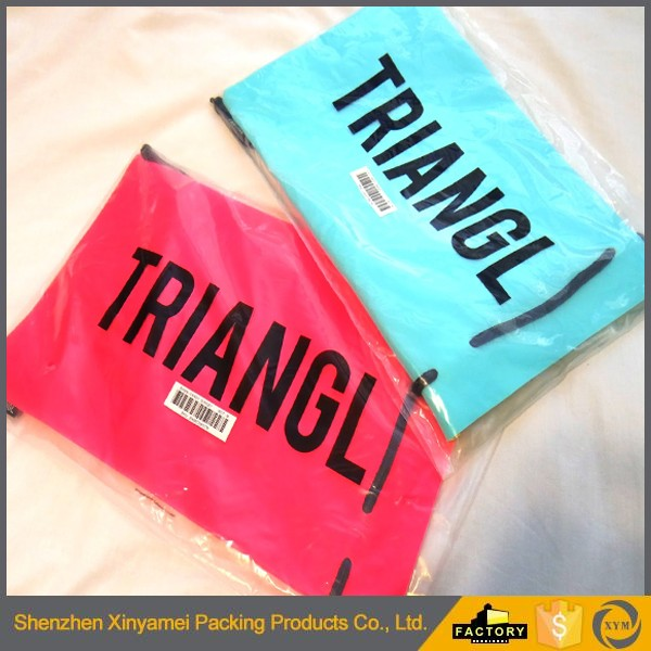 plastic shopping bag with cotton string for swimsuit packing swimsuit plastic bag for packing