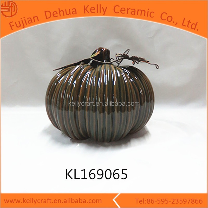 Personalized ceramic pumpkin with metal leaf