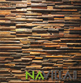 Old ship wood mosaic wall panel sheet for kitchen room