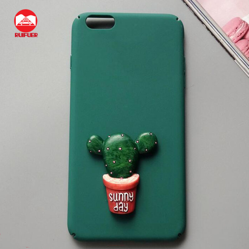 2016 New Arrive Hard Plastic Freshness Green Cartoon Sunny Day Potted Plant 3D Cactus Case for Iphone 7 7 plus