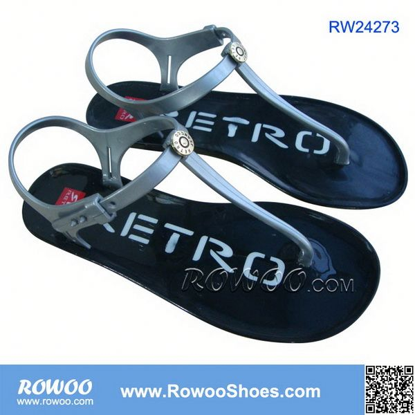 brand pvc injection jelly ladies sandals