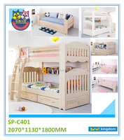 Wooden bunk bed with Ladder Frame With Bookcase Hand Polished Furniture for Bedroom Wooden Natrual Color