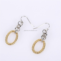 gold color round shape dangle pendant earring