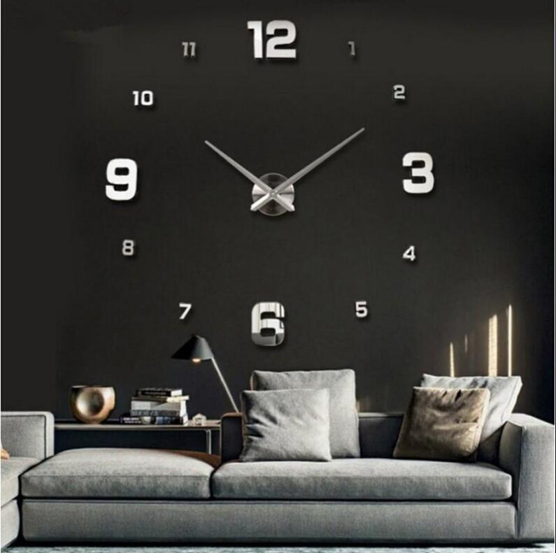 hot selling 3d frameless large diy sticker wall clock for home decoration