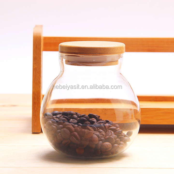 500ml high clear round shape airtight glass food jar with bamboo lid