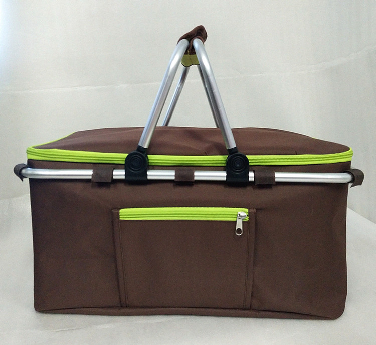 Large capacity insulated cooler basket foldable picnic cooler bag