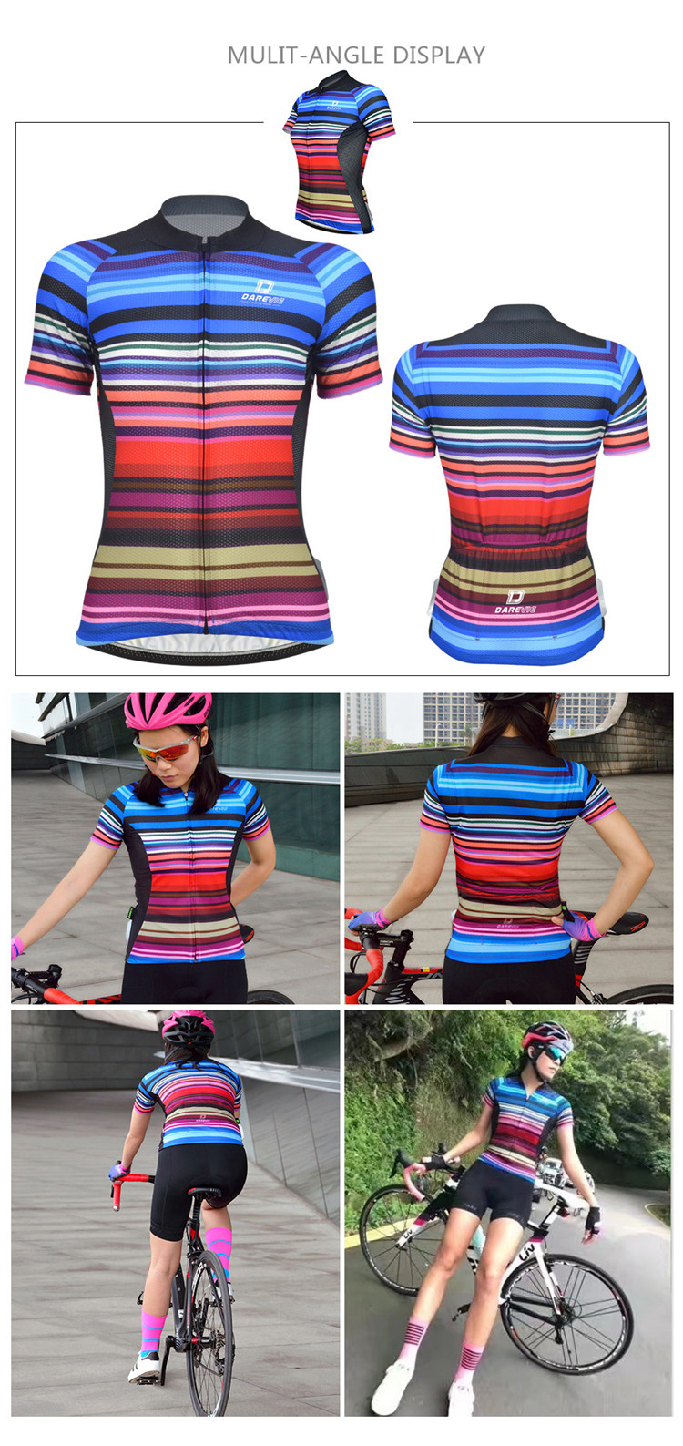 Customized Item Quick Dry Breathable Cycling Jersey Women Short/Bike Jersey Women
