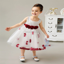New Design White Princess Chiffon Girl Party Wear Western Dresses Fancy Birthday Dress for Girl of 7 Years Old