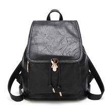 fashion women wholesale backpacks travelling backpack washing pu leather knapsack