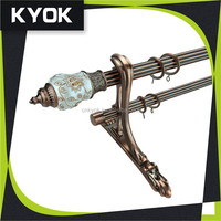 KYOK factory wholesale supply curttain tube/pole, new design lotus pattern curtain finial ,metal curtain rod bracket