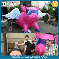 Funny lovely inflatable pink pig with wing inflatable flying pig for party event decoration