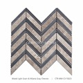 New Arrival Polished Chevron Wood Light Grain And Milano Gray Mosaic