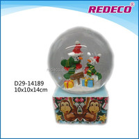 Resin christmas snowman glass water globe