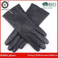 Customized Ladies Black Sheepskin Leather Gloves