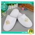 Dense Velvet Hotel Slippers / Chinese Disposable Plain Velour Traveling Slippers / White Embroidered Logo Fancy EVA Spa Slippers