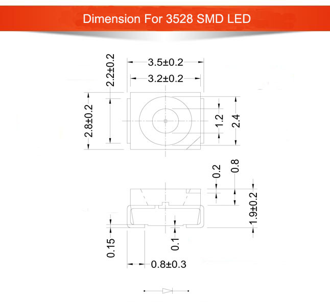 High Brightness SMD 3528 Led 0.06W Emitting Diode Specifications