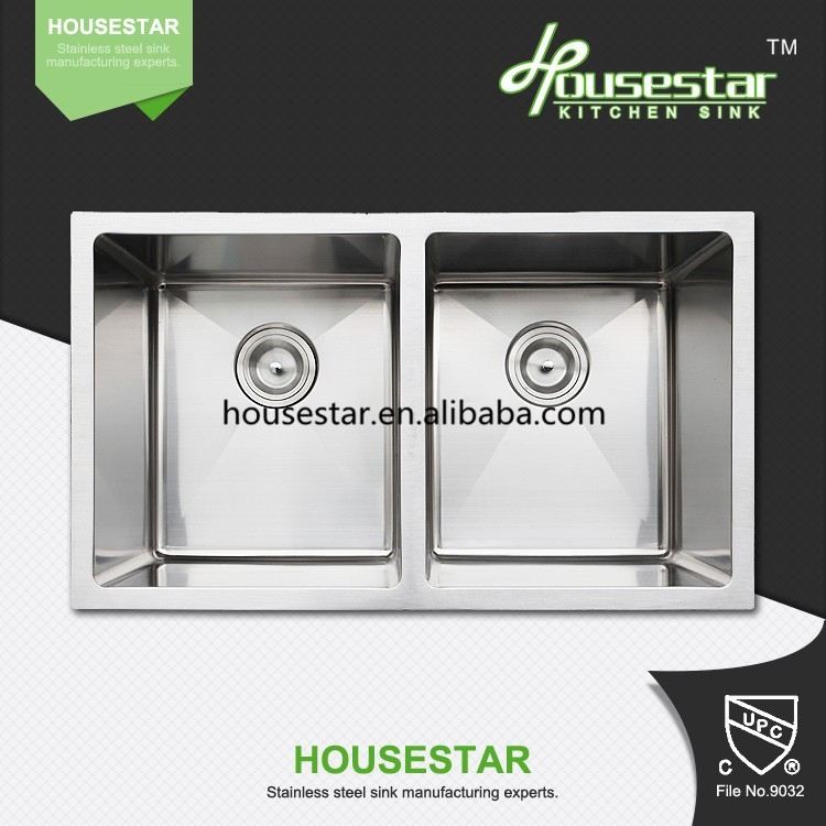 Cupc SUS304 Hot Sale undermount hand made stainless steel kitchen sink with double bowl Canadian sink---3318A(50/50)