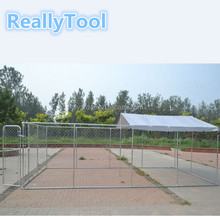 Large Outdoor Chain Link Dog Kennel Enclosure Exercise Pen Run with Cover 4mx2mx1.8