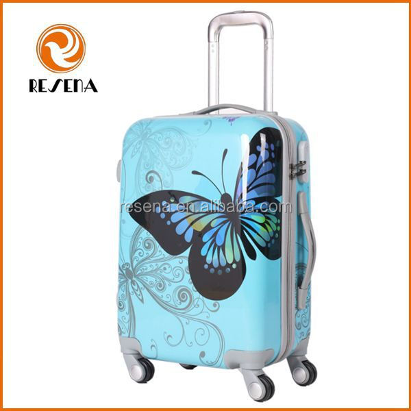 Blue with Butterfly Pattern Cheap Trolley Suitcase