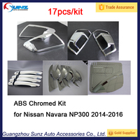 High quality auto ABS chromed full chromed kit for Navara NP300 2014-2016, exterior accessories complete kit for Navara NP300