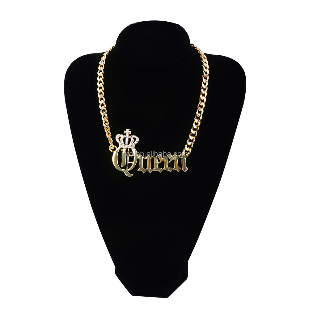 Personality Luxury Bib Fashion Queen Diamond Necklace Crown Pendant Jewelry