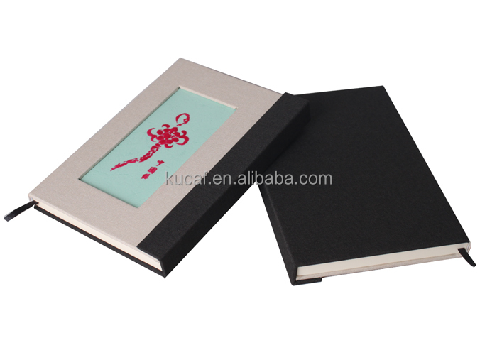 Custom Linen Hardcover A5 Flocking Pattern Notebook with Magnetic Clasp