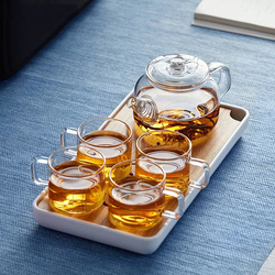 Wholesale reasonable price clear glass tea cup set and tea pot