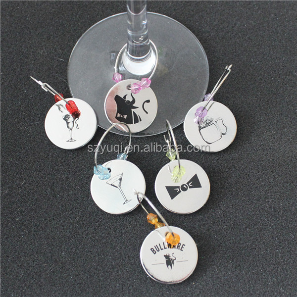 High Polished Round Charm with Screen Printed Zinc Alloy <strong>Wine</strong> Charm Set