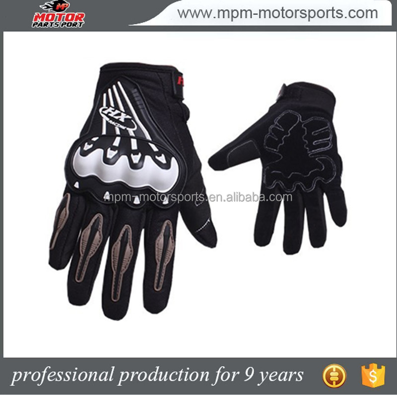High quality black leather motorcycle gloves motorbike leather gloves
