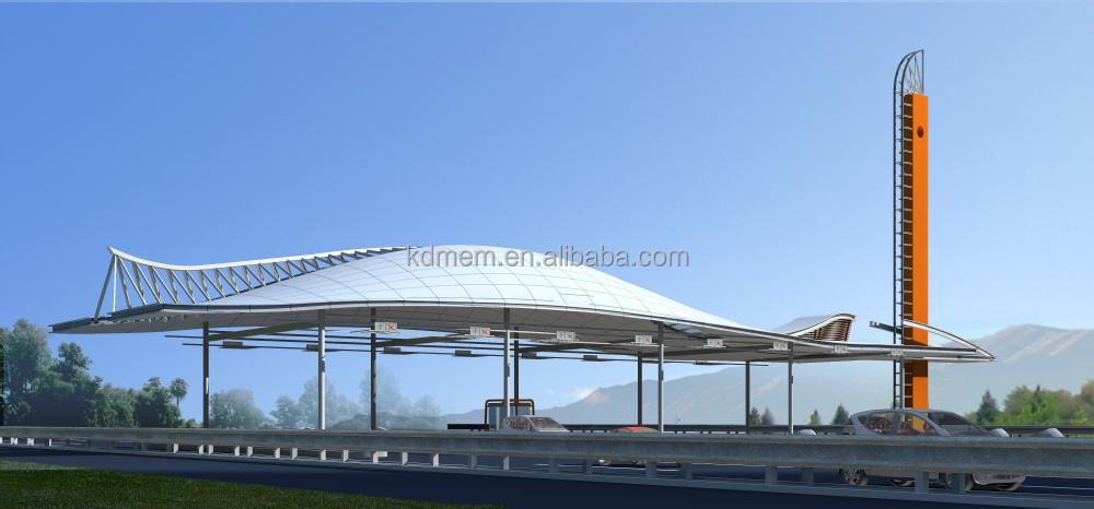 toll station tensile membrane structure Heat Insulation white roof