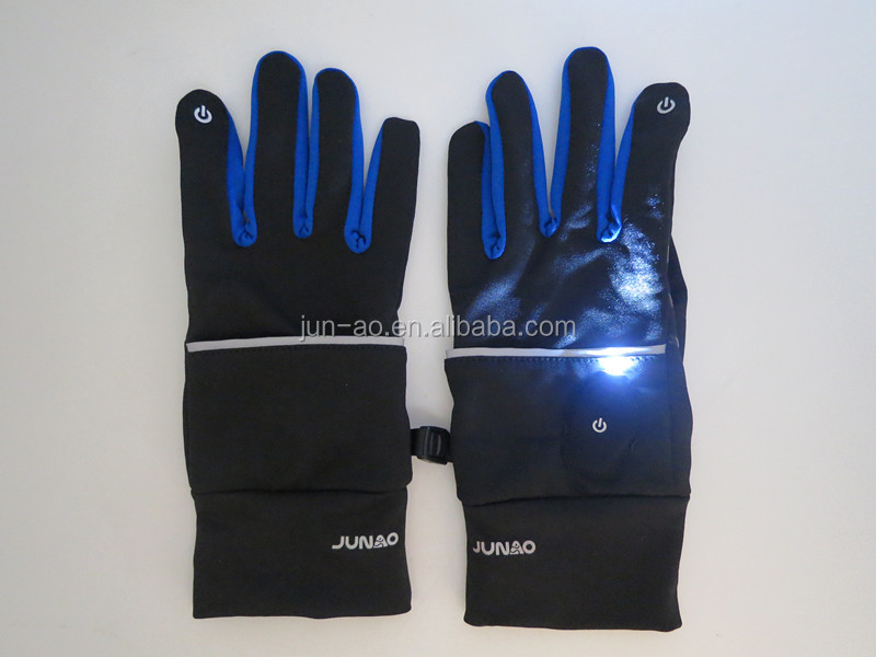Screen touch running gloves with flash LED light