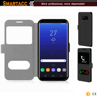 Slim Magnetic Flip Leather 2 Window Smart View Case Cover For Galaxy S8