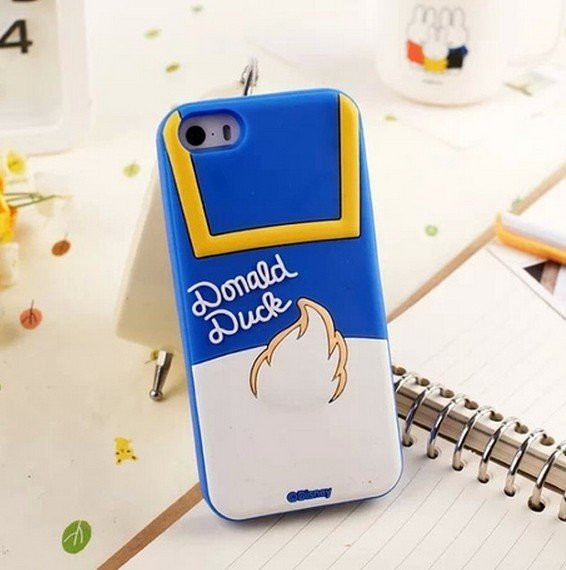 Cute 3D Back Shadow for iPhone5 5s mickey case5 Styles Cartoon Minnie Mouse Duck Mickey Silicone Back Cover Case