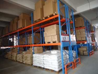Products piled in warehouse