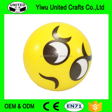 Anti-Stress PU Foam Squeeze ball Smile Face Ball with Key Ring