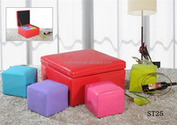 Guangdong factory Living room furniture Storage ottoman with hard lid/one stool with 4 small one