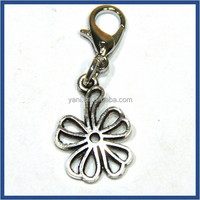 Small MOQ custom made logo artificial jewellery silver metal flower charms dangle with lobster